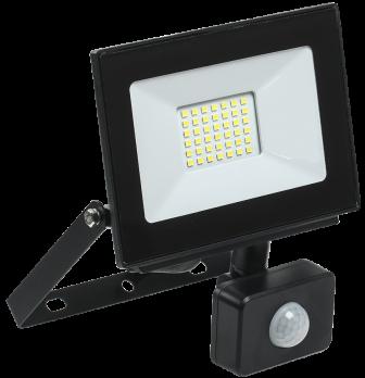 IEK Прожектор светодиодный СДО 06-30Д 6500К черный с датчиком движения IP54