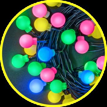Navigator Гирлянда шарики 7,9м, разноцветная, 8 режимов, 80с/диодов, 3,3Вт, IP20
