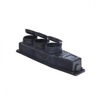 Колодка 3-х местная с крышками (каучук) 16А IP44, 602230