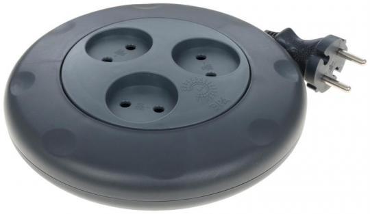 Удлинитель ЭРА Calypso 3 гнезда, 3м, без заземл, рулетка (черный)