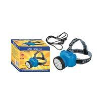 Ultraflash Фонарь налобный аккум 220В, голубой, 12 LED, 2 режима, пласт бокс
