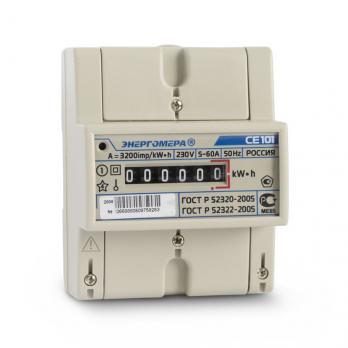 Энергомера Счетчик эл. энергии однофазный СЕ101 R5 5-60А однотарифный кл.т. 1,0 (МОУ; DIN)