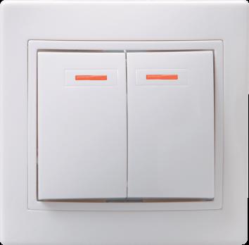 IEK Выключатель с подсветкой КВАРТА 2кл с инд. 10А, белый 245490