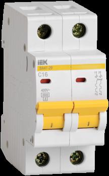 IEK Выключатель автоматический модульный ВА47-29 2п 16А 4,5 кА х-ка С