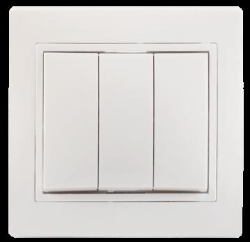 IEK Выключатель без подсветки КВАРТА 3кл 10А, белый 312782