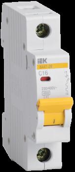 IEK Выключатель автоматический модульный ВА47-29 1п 16А 4,5 кА х-ка С