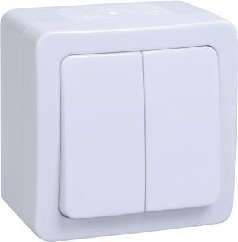 IEK Выключатель без подсветки ГЕРМЕС PLUS 2кл о/у IP54 клавиша белая