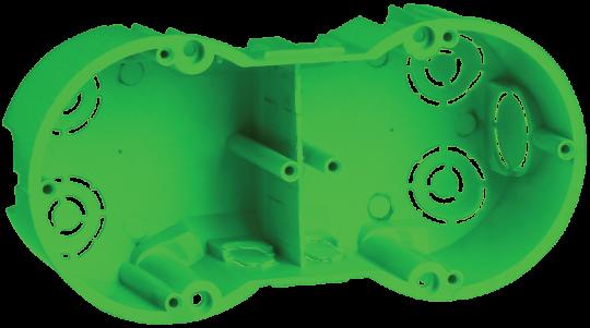 IEK Коробка установочная КМ40023 2местная для полых стен 141 х 70 x 45 с саморез. и мет.лапками, зел