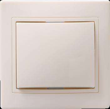 IEK Выключатель без подсветки КВАРТА 1кл кноп. звонка 10А, кремовый