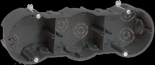 IEK Коробка установочная КМ40009 3-х местная для твердых стен 212 х 70 х 45 с саморезами, черная