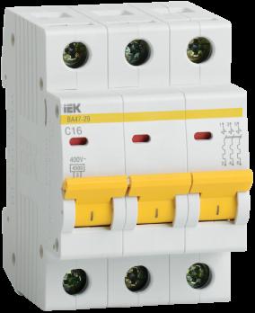 IEK Выключатель автоматический модульный ВА47-29 3п 40А 4,5 кА х-ка С