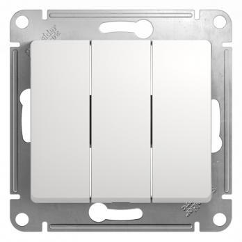 SCHE Выключатель без подсветки GLOSSA 3 кл., белый 000131