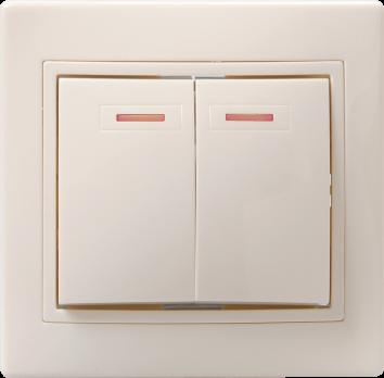 IEK Выключатель с подсветкой КВАРТА 2кл с инд. 10А, кремовый 245495