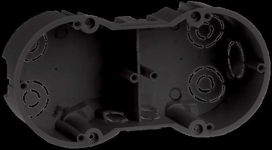 IEK Коробка установочная КМ40007 2-х местная для твердых стен 141 x 70 x 45 с саморезами, черная