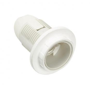 Патрон белый пластик Е14 с кольцом