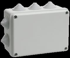 IEK Коробка распаячная КМ41242 для о/п 150 х 110 х 70 IP55, RAL7035, 10 гермовводов