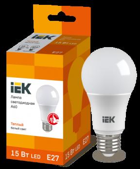IEK Лампа светодиодная ECO A60 шар 15Вт 230В 3000К E27