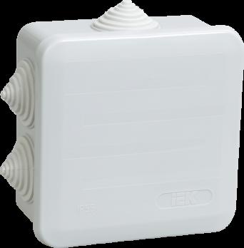 IEK Коробка распаячная КМ41255 для о/п 100 х 100 х 50 IP44, RAL7035, 6 гермовводов, защелк. крышка