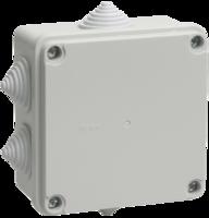 IEK Коробка распаячная КМ41234 для о/п 100 х 100 х 50 IP55, RAL7035, 6 гермовводов