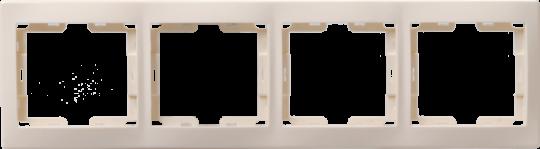 IEK Рамка КВАРТА 4-местнная горизонтальная, кремовая