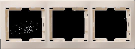 IEK Рамка КВАРТА 3-местная горизонтальная, кремовая