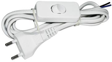 Шнур УШ-1КВ белый опрессованный с вилкой со встроенным выключателем 2х0,75 мм2
