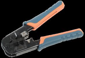 ITK Инструмент обжимной для RJ45, RJ12, RJ11 с храповым мех. и прорезиненными ручками, сине-оранжевы