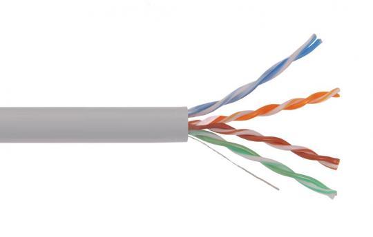 Кабель связи витая пара U/UTP, кат. 5Е 4х2х0.48 solid, PVC, серый, 1 метр